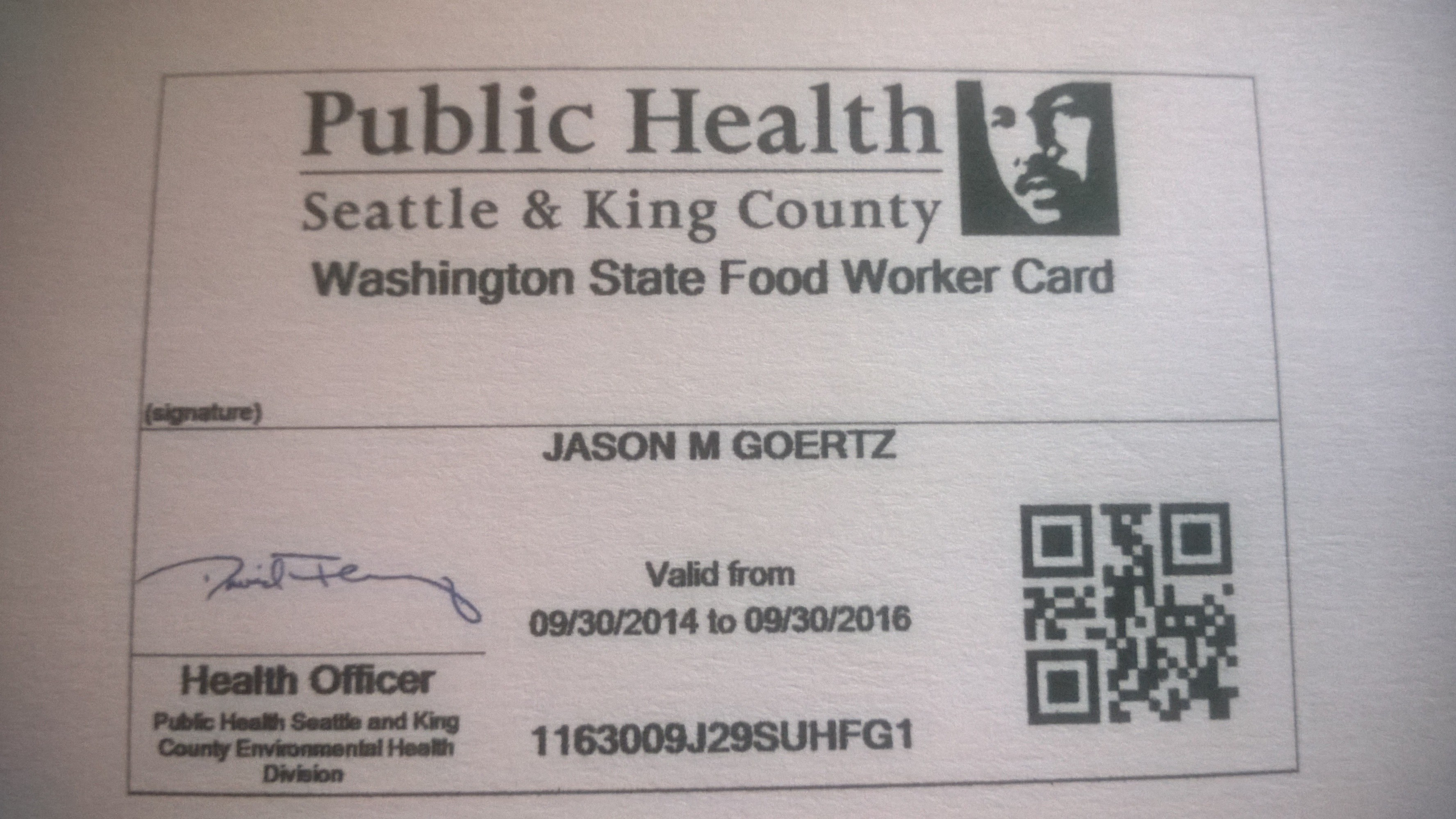 Wa State Health Department Food Handlers Permit